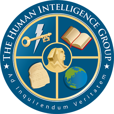 HUMINT Group Seal, a blue circle quartered by gold lines with a Sphinx, Globe, Rosetta Stone, Book, and Lightning-Key. Motto: Ad Inquirendum Veritatem.