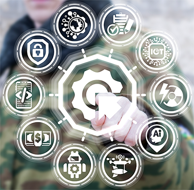 Stylized image of a soldier pointing to various icons related to counter-terrorism, including cash, social media, and drones.